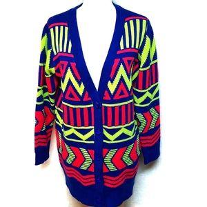 Vintage Neon Oversized Chunky Sweater Cardigan